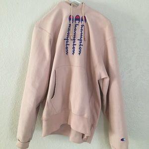 pink champion logo hoodie